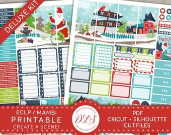 Christmas Planner Stickers, Winter Planner Kit, Weekly Stickers Kit, December Planner, Santa Stickers, Holiday Planner Kit ECF102