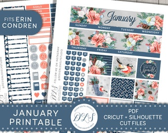January Printable Planner Kit, January Monthly Kit, Printable January Monthly Stickers, January Monthly View, fits Erin Condren 2018, MV140