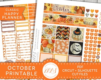 Happy Planner October Monthly Kit, October Monthly Kit Printable, Halloween Monthly Kit, Happy Planner Fall Monthly Kit, Cut Files, HPMV105