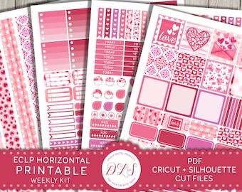 ECLP Horizontal Stickers, Valentine Planner Stickers, February Planner Stickers, Printable Planner Stickers, Weekly Planner Kit, HS123