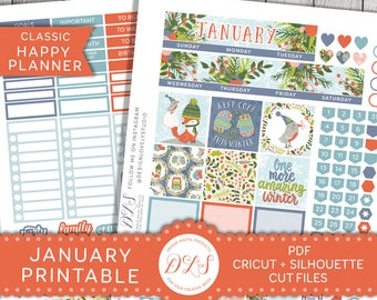 Happy Planner January Monthly Kit, January Monthly Planner Stickers, January Printable Kit, 2018 Planner Stickers Kit, Cut Files, HPMV137