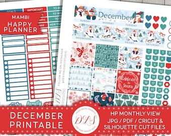 Happy Planner December Monthly Kit, December Planner Stickers, Printable Happy Planner December Stickers, Mambi December Stickers, HPMV110