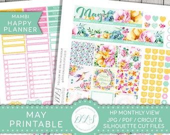 May Monthly Kit, May HAPPY PLANNER Stickers, Mambi Stickers May, Printable May Stickers, Floral Spring Planner, Mambi PDF, Cricut, Hpmv124