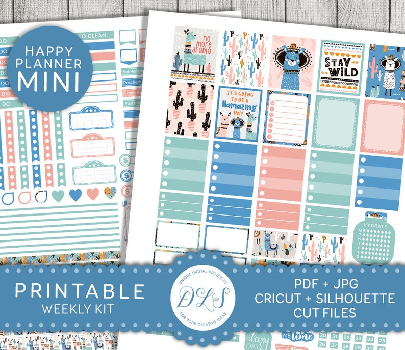 graphic regarding Happy Planner Stickers Printable named Printable Mini Joyful Planner Stickers, Llama Planner Stickers, Printable Planner Package, Weekly Planner Printable, Cricut, Silhouette, MW133
