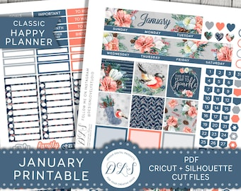 January Happy Planner Monthly Kit, Happy Planner January Printable Stickers, January Monthly Kit, 2018 Planner Stickers Kit, HPMV138