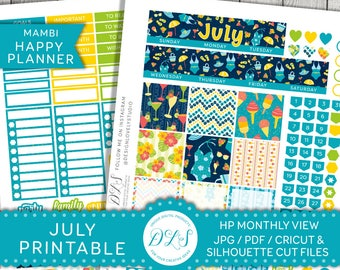July Happy Planner, July Monthly Stickers Kit, July Stickers Kit, Happy Planner July, July Planner Kit, July Monthly Kit, HPMV129