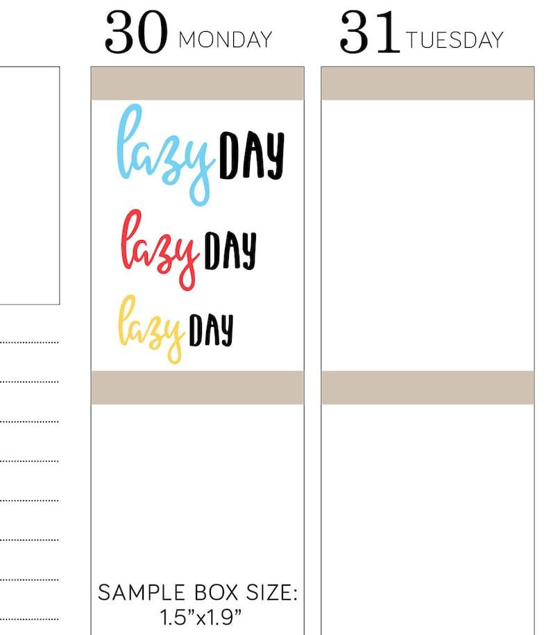 LAZY DAY Printable Script Planner Stickers, Typography Planner Stickers,  for use with Erin Condren, Bullet Journal, Happy Planner, SS110