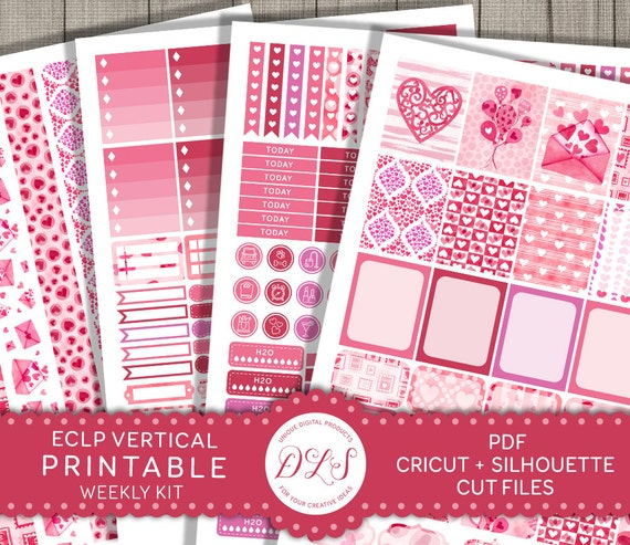 February Planner Stickers Eclp Vertical Stickers Valentines Etsy