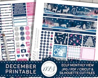 December Monthly Kit for Erin Condren, December Monthly Planner Stickers, Christmas Planner Kit, December Printable, Glitter Stickers, MV113
