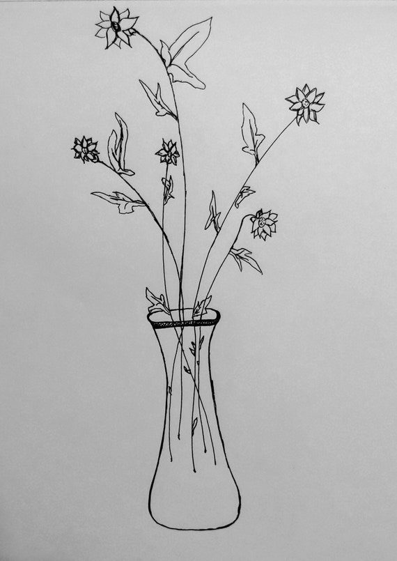 Wild Daisies In Glass Vase Pen Drawing Etsy