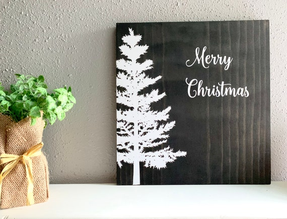 Minimalist Christmas.Merry Christmas Wooden Sign Minimalist Christmas Sign