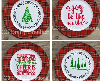 Christmas Charger, Decorative Charger, Joy to the World, Spread Christmas Cheer, Merry Christmas, Plaid Charger, Christmas Plate, Xmas Decor