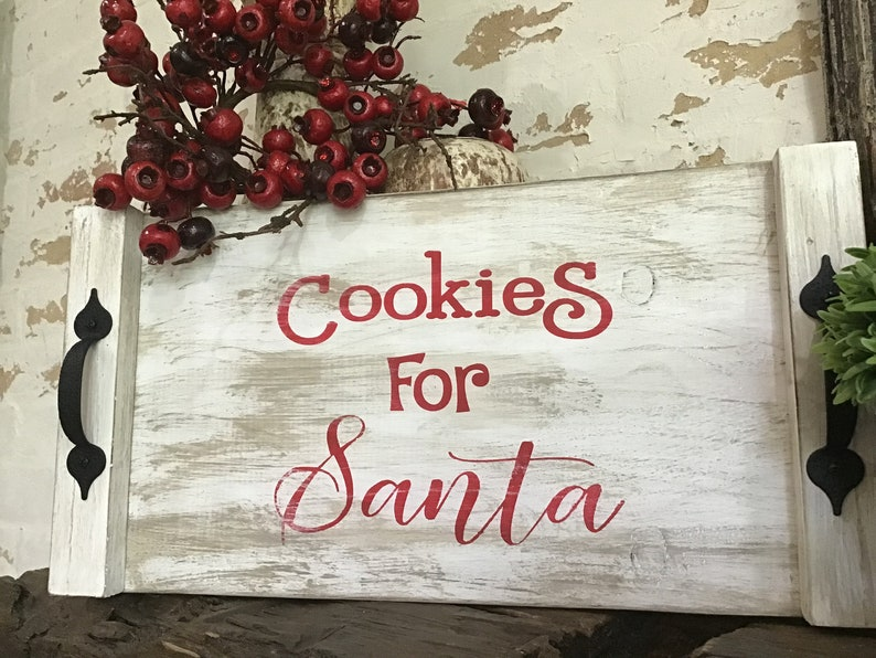 Handpainted Tray tray with handles Cookies for Santa Cookies for Santa Tray Christmas Tray