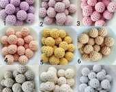 16MM - 2 5 10 20 balls of wood covered in crochet- 2 5 10 20 crochet beads 16mm-2 5 10 20 holz h 39 kelperlen 16MM- Boules in crochet 16mm