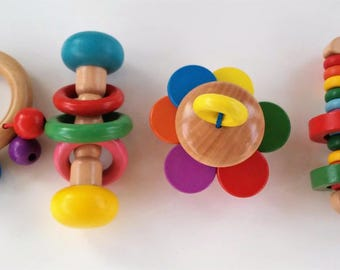 Wood varnished - Varnished Wooden rattles rattles - toys from wood-Holzspielzeug - jouets in bois - Montessori toys