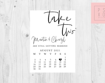 Change Of Plan New Date Calligraphy Calendar Design Save The Date Magnets Change Of Date Save The Date Magnet Wedding Postponement