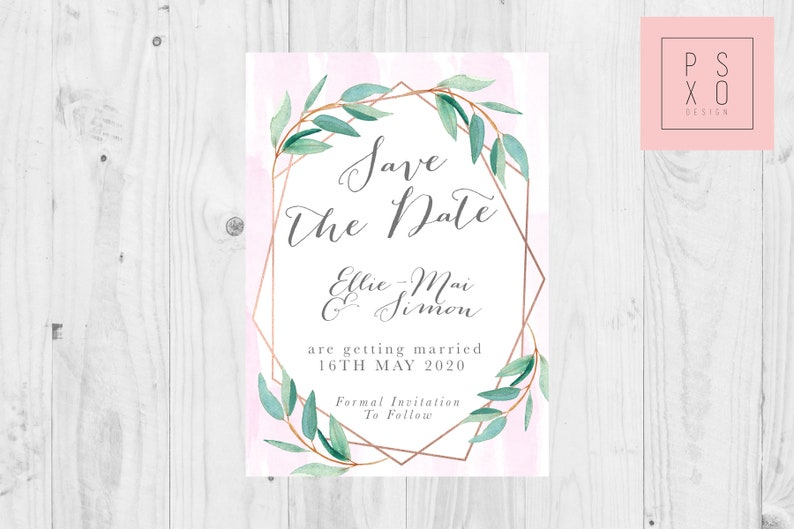 Save The Date Magnets Foliage And Blush Watercolour Design Wedding Magnet Wedding Magnets Save The Date Magnet Blush Watercolour