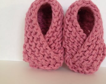 Baby Girl Slippers Pink Infant Slippers Knit Baby Booties Newborn Crib Shoes Pink Baby Booties Gender Reveal Baby Girl Shower Gift
