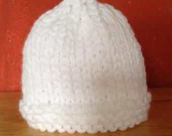 White knit baby hat  fdb6e3e71b0