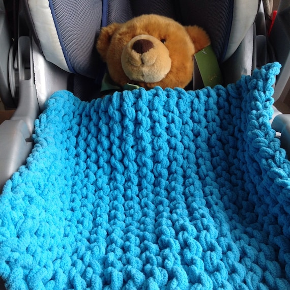 Teal Mini Baby Blanket Knit Car Seat Blanket Ready To Ship