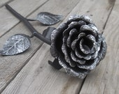 Hand forged steel rose, Metal rose, Iron flower, Metal sculpture, Wrought iron, 4th Anniversary gift, Mother's Day gift