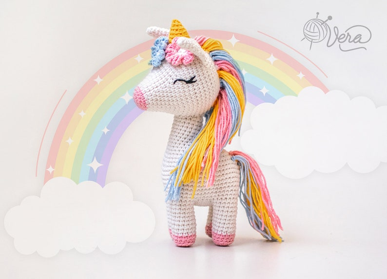 Unicorn crochet toy Unicorn Stuffed Crochet Toy Amigurumi image 0
