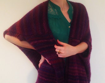 Hand knitted ladies vest - wrap, loose vest, handmade ladies vest, woman's poncho, wrap, spring jacket, spring vest