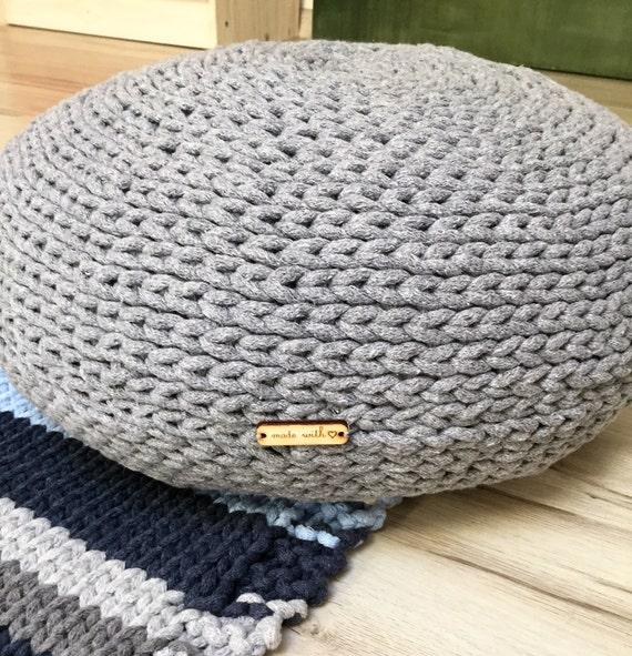 Hand gestrickt Hocker grauen Boden Kissen Seil häkeln | Etsy