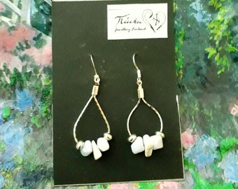 Light Blue, White and Silver Loop Earrings