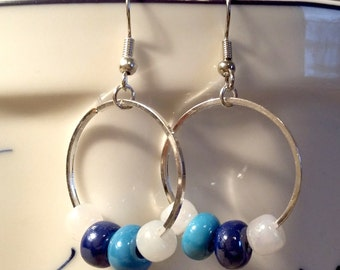 Blue and White Beads in Circles Earrings