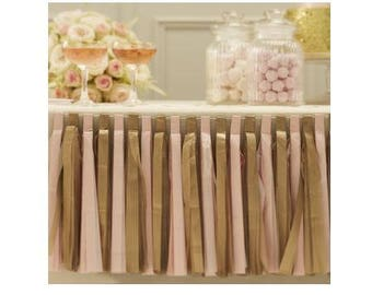Pink and gold tissue paper Garland