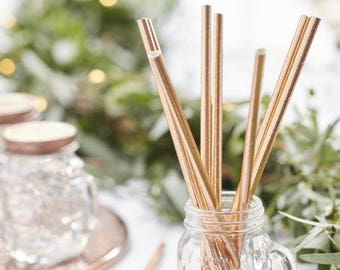 Set of 25 straws in copper