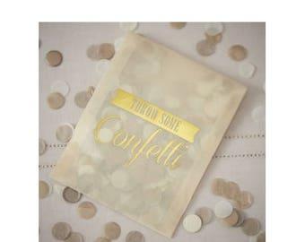 White/gold confetti bag