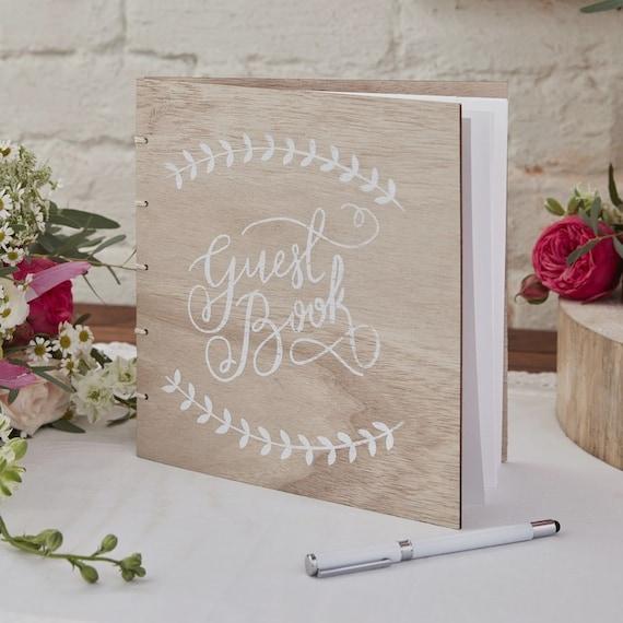 Das Buch Der Goldene Hochzeit Gästebuch 32 Seiten Abdeckung Aus Holz