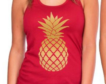 Gold Pineapple Top, Pineapple Shirt, Gold Pineapple Tank Top, Pineapple Bachelorette, Gold  Pineapple Tee, Pineapple Gift, Pineapple Shirt
