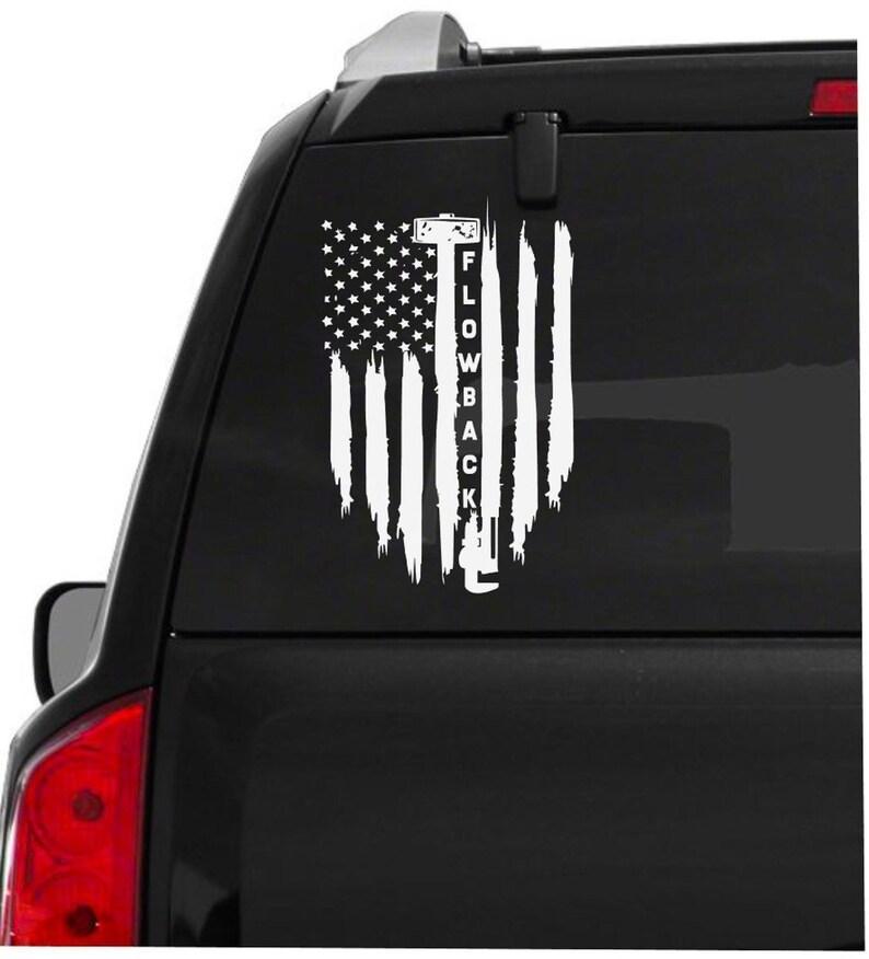 Oilfield Flag Flow Back Sledgehammer Vinyl Decal Sticker, Sledgehammer Flag  Decal, Oilfield Gift, Gift Ideas For Him
