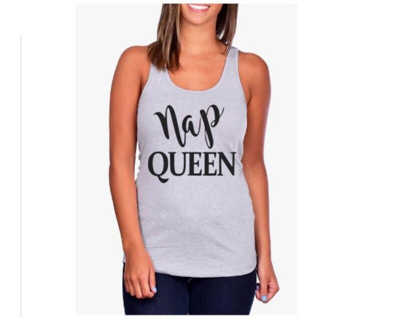 3bd3641dda239 Womens Nap Queen Racerback Tank Top Shirt   Funny Tank Tops