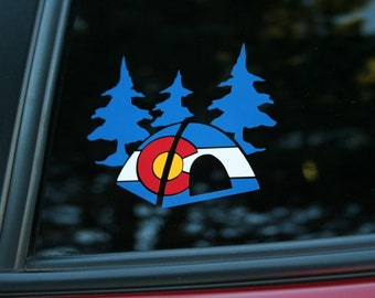 Colorado State Flag Tent Camping and Trees die-cut sticker