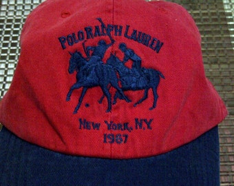 Polo Ralph Lauren Mercer Club Ecuestre gorra bordada sombrero Vintage rojo c37a7728964