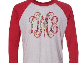 Monogrammed red and white raglan shirt - patterned monogrammed shirt
