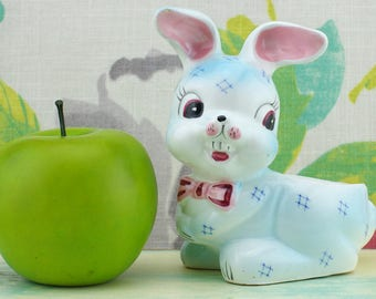 Ceramic bunny rabbit planter, blue with pink bow. Cute!