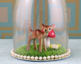 Handmade diorama/cloche, deer with toadstool ornament.