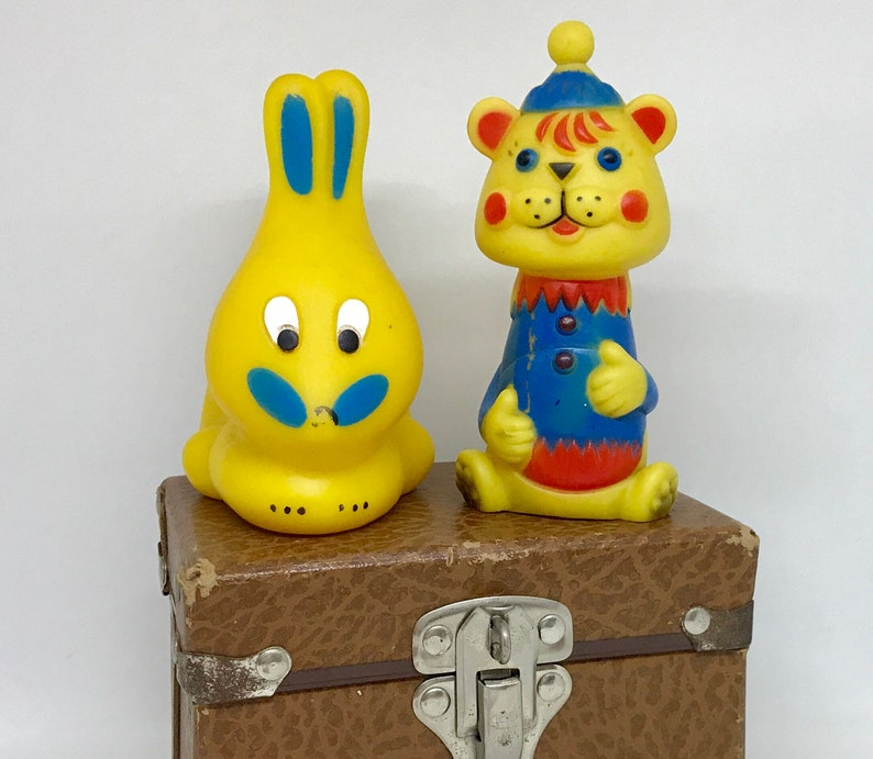 bear and bunny. Pair of vintage squeaky toys
