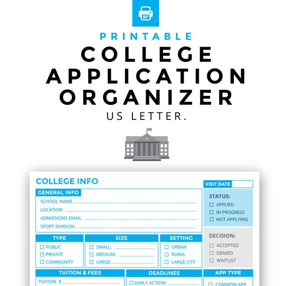 photograph relating to Printable College Applications named College or university Software Organizer Printable