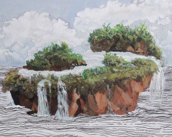 Landscape Painting and Pen Mixed Media Work