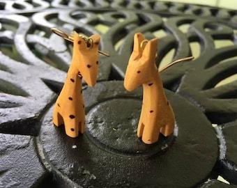 Tribal Wooden Giraffe Earrings