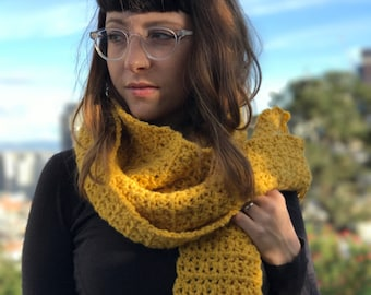 Long Crochet Scarf in Sunflower, Mustard Scarf, Yellow Knit Scarf, Fringe Scarf, Extra Long Mustard Scarf, Autumn Scarf, Fall Colors Scarf
