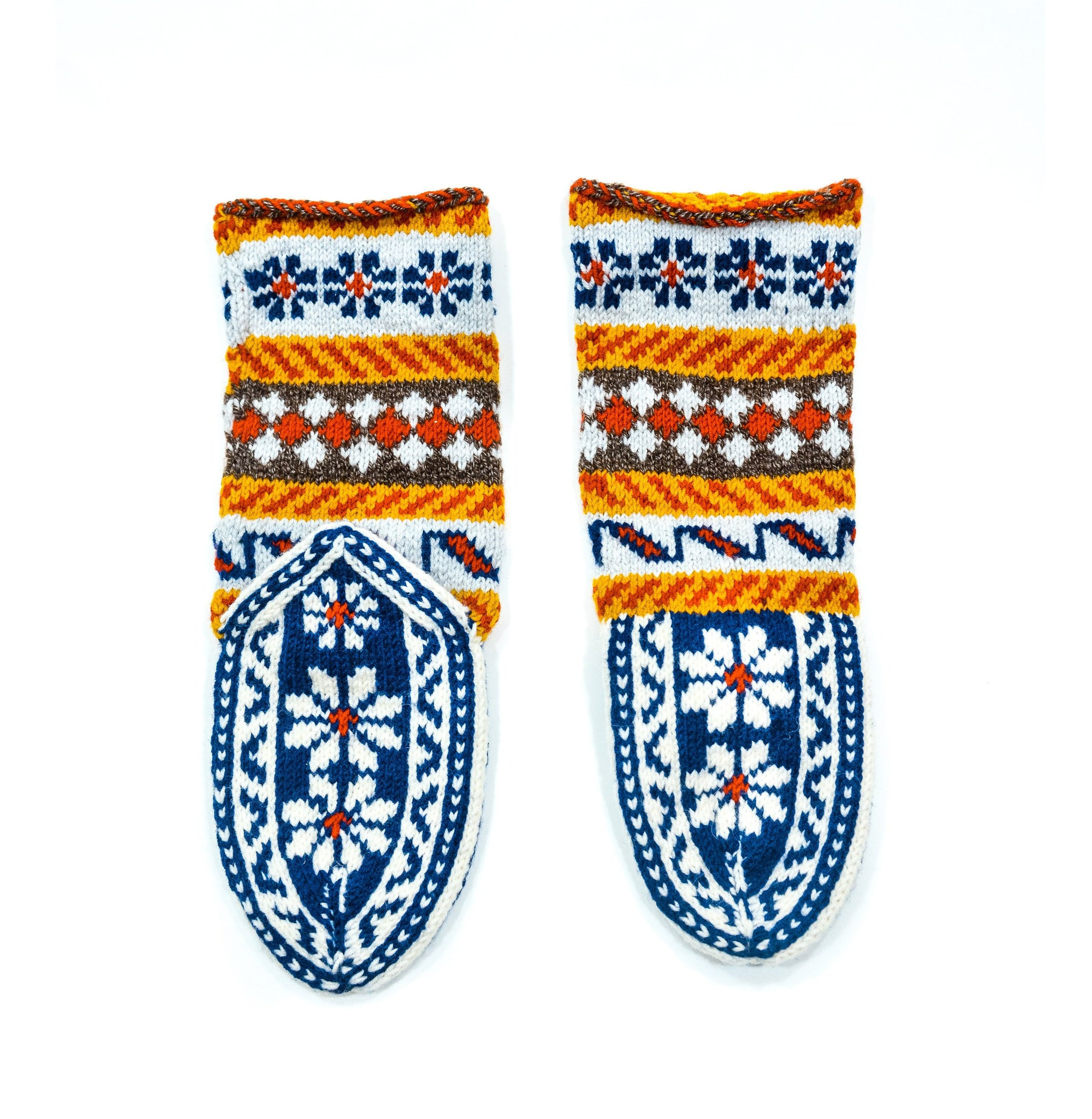 d35dc3cf2210c Women's US 8-9 Blue and White Colorful Mukluk Style Long Boho Fair Isle  Slippers WITH or WITHOUT Suede Soles