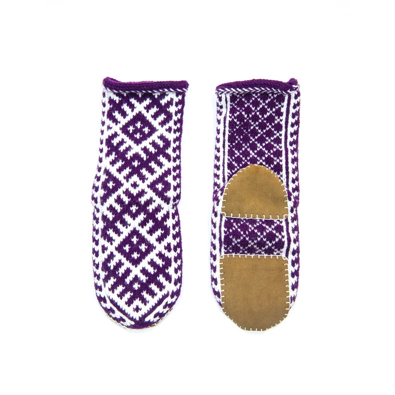 923d51b234557 Women's US 7-8 Purple and White Mukluk Style Slippers Long House Socks WITH  or WITHOUT Suede Soles