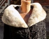 REDUCED Vintage Genuine PERSIAN LAMBSWOOL Hess Coat with Blue Fox Collar
